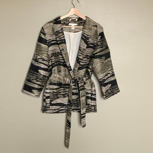 H&M gold boxy tapestry belted coat medium